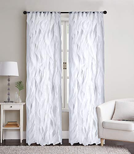 "Sapphire Home 2 Cascade Curtain Panels, White Ruffle 84"" Curtain Panels, Sheer Voile Vertical Ruffled Curtain Panels, Cascade 84"" White"