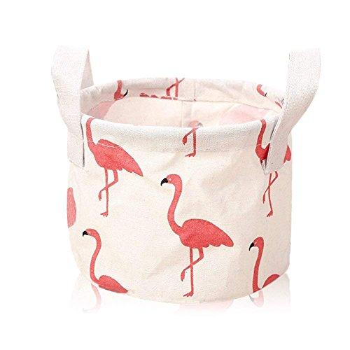 Milopon Aufbewahrungskorb Stoff Aufbewahrungsbox Flamingos Regallagerbehälter Organizer Wäschesammler Aufbewahrungskiste Kinderzimmer Wäschekörbe Korb Spielzeugkiste (Weiß)