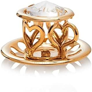 Matashi 24K Gold Plated Tea Cup with Saucer Crystals Ornament
