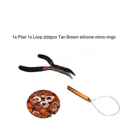Kit plume Extension de cheveux Anneaux Silicone Marron clair 5 mm 200