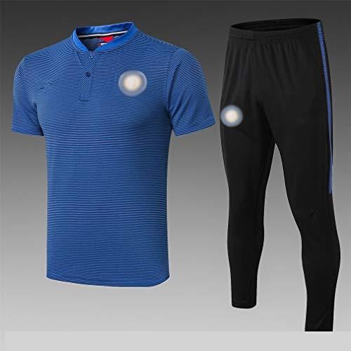 Big25cm Jugador de Utilidad! Traje Traje de Entrenamiento de la Solapa de los Pantalones de Manga Corta Azul de fútbol chándal de fútbol (Seleccionar Talla) -kuzt_5635