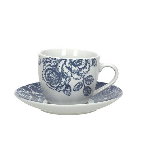 Tognana Olimpia Blu Garden Confezione 6 Tazze Te, Porcellana