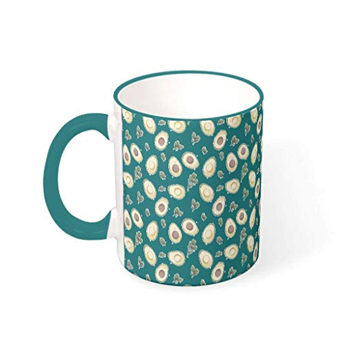 O2ECH-8 11 Oz Avocado Mischen Kaffee Becher mit Griff Keramik Personalized Becher - Lustige Früchte Chanukka Gegenwart, Geeignet für Haus verwenden Teal 330ml