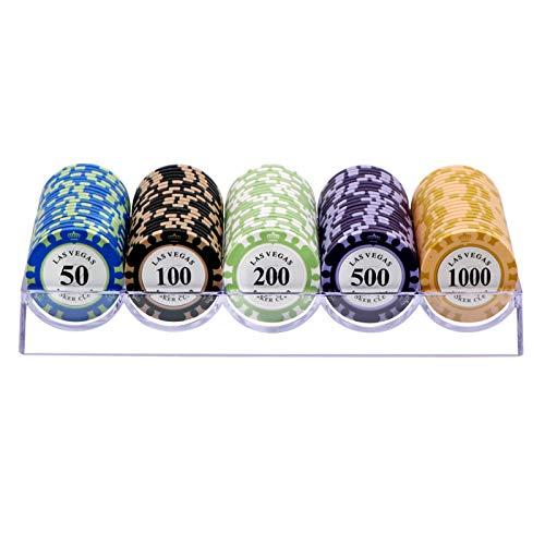 Juego de Fichas de Póquer de 100 Piezas, Juego de Póquer Estilo Clay Casino con Caja de Acrílico Transparente - Elija Denominación