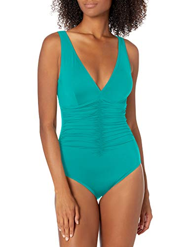 Contours by Coco Reef Women's Solitaire V-Neck ONE Piece, SEA Blue 447, 10/34 C