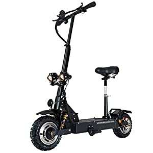 GUNAI Electric Scooters Adult 3200W Motor Max Speed 85km/h Double Drive 11 inch Off-road CST Tire Folding Commuting Scooter with Seat and 60V Battery