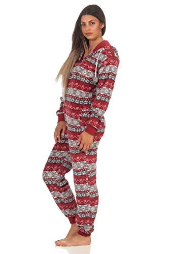 Damen Jumpsuit Overall Schlafanzug Norweger-Look, Overall mit Kapuze - 291 267 97 959, Farbe:rot, Größe2:40/42