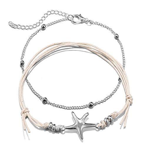 Conjunto de 2 piezas de cadena de tobillo Mujeres estrella de mar plata Tobilleras niña Multi-capa Trenzada cuerda pulsera ajustable mujer