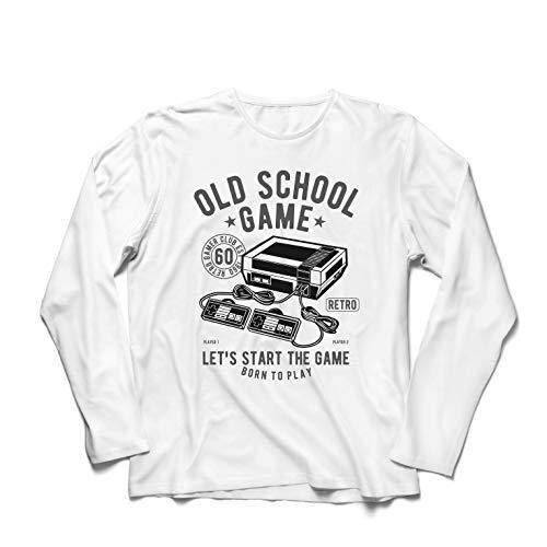 lepni.me Camiseta de Manga Larga para Hombre Nacido para Jugar - Juego de la Vieja Escuela, Regalos para videojugadores (XXXXX-Large Blanco Multicolor)