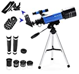 MaxUSee 70mm Refractor Telescope with Tripod & Finder Scope for Kids & Astronomy Beginners, Portable Telescope with 4 Magnification eyepieces & Phone Adapter