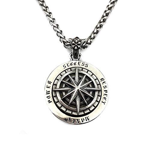 AUEDC Männer Retro Halskette Kompass Drehbarer Anhänger Halskette Titan Stahl Hip Hop Pullover Kette Wunsch Kompass Anhänger,Silber