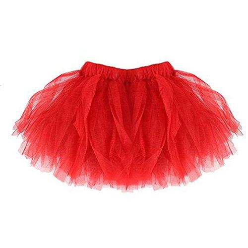 DAY8 Tutu Jupe Bébé Fille Courte Ballet Jupe Tulle Plissée Crayon Princesse Bébé Vetement Bebe Fille Naissance 0-2 Ans Pas Cher a la Mode Chic Ete 2019 Cadeau Bébé Fille (0-2 Ans, Rouge)