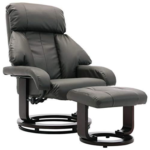 vidaXL Fernsehsessel mit Fußhocker Relaxsessel TV Sessel Ruhesessel Liegesessel Polstersessel Liegestuhl Relaxliege Grau Kunstleder