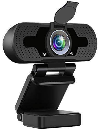 DJSOG 1080P Business Webcam mit Dual-Mikrofon Sichtschutz Abdeckung 2020 [Upgrade] USB FHD Webkamera Plug and Play Rauschunterdrückung für Zoom Skype MS Teams Online Teaching Laptop Mac PC Desktop