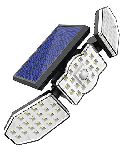 62LED Luz Solar Exterior,Súper Brillante 3 Modos,Focos LED Exterior Solares Potentes con Sensor de Movimiento,Ángulo de Iluminación 270º Adjustable,Lampara Solar Exterior Potente Impermeable IP65