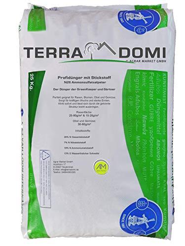 TerraDomi 25 kg Ammonsulfatsalpeter N26 Stickstoff-Dünger für den Frühling I Profi Rasendünger mit Langzeitwirkung | Perfekt für Rasen, Blumen, Obst & Gemüse