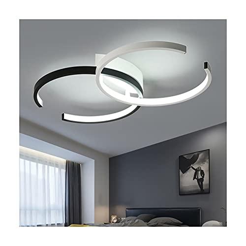 Accesorio de iluminación Luz de techo moderna, monte LED de lámpara de araña, control de acrílico de acrílico Luz colgante de anillo moderno con ovalado de 2 anillos de cromo, para dormitorio de sala