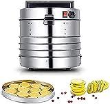 NKTJFUR Deshidratador de alimentos 5 bandeja de bandeja de acero inoxidable de acero inoxidable deshidratar máquina de secado 400W con ajustes de temperatura preestablecida e incluso circulación de ca