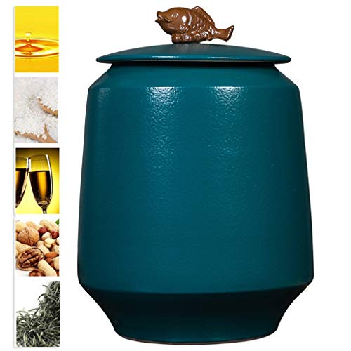 Check Out This Qazxsw Ceramic Rice Cylinder,Tea Pot with Lid Moisture-Proof Rice Bucket Sealed Flour...