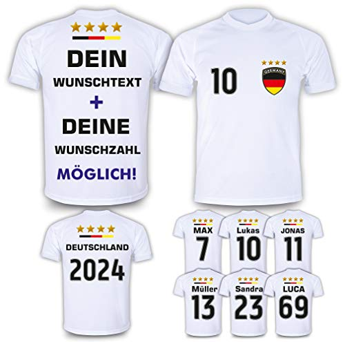 Deutschland Trikot mit GRATIS Wunschname + Nummer + Wappen Design #DE1 2021/2022 EM/WM Weiss - Geschenke für Kinder,Jungen,Baby, Fußball T-Shirt personalisiert als Geschenk