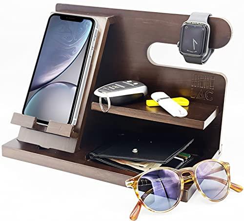 Lac Dockingstation aus Holz mit leeren Taschen und Uhrenhalter, Geschenk zum Geburtstag, Herren, Jahrestag, Vatertag, Ehemann, iPhone Ständer, iPhone Schreibtisch