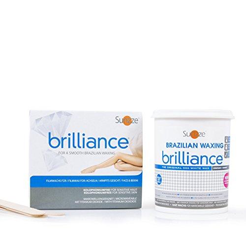 Sunzze Brazilian Wax Brilliance 800ml, Intimenthaarung, Heisswachs auch für Mikrowelle geeignet, gratis 5 Spatel, Benutzung ohne Vliesstreifen