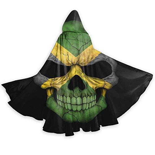 Zome Lag Capa para Adultos Capa De Bandera Jamaicana Calavera Cabeza De Jamaica Capa con Capucha Unisex Capa De Bruja Capa Larga Capa De Fiesta De Cosplay De Halloween