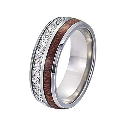 Gualiy Anillos de promesa baratos para hombres, 8MM acero inoxidable/tungsteno plata Meteorito y madera incrustaciones anillos para hombres niño padre marido, plata,