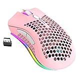 FeelMeet Ratón inalámbrico Recargable ratón RGB Ligera Shell Honeycomb Diseño Compatible con PC Mac Rosa