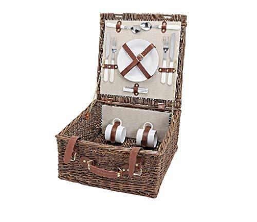 Picknick-Korb in Beige, Braun & Weiß | Picknick-Set für 2 Personen | Trage-Korb inklusive Messern, Gabeln, Tellern und weiterem Besteck | Praktischer Weidenkorb für Essen, Getränke & Picknick-Decke