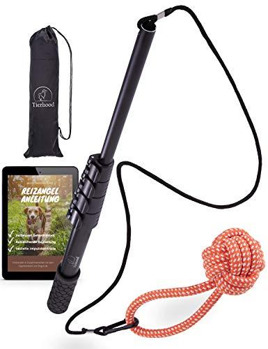 Tierhood ® Reizangel für große & kleine Hunde [stufenlos verstellbar] inkl. Trainingsanleitung - Spielangel Hunde - Hundereizangel - Hundeangel - Reizangel Hunde - interaktives Hundespielzeug