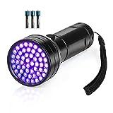 Black Light UV Flashlight, 51 LED Blacklight Flashlights 395 nM Pet Urine Detector with 3 Pack AA Batteries for Cat Urine, Stains, Bed Bug (Black)