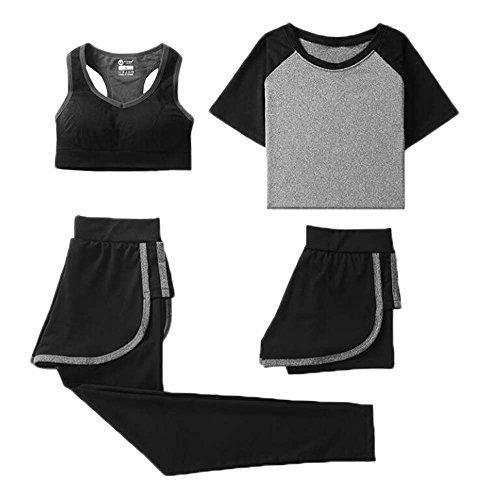 Black Temptation Women Gym Outfit Workout Sports Ensemble de 4 pièces Vêtements de Course