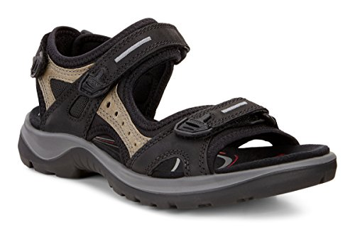 ECCO Women's Yucatan outdoor offroad hiking sandal, Black/Mole/Black, 8 M US