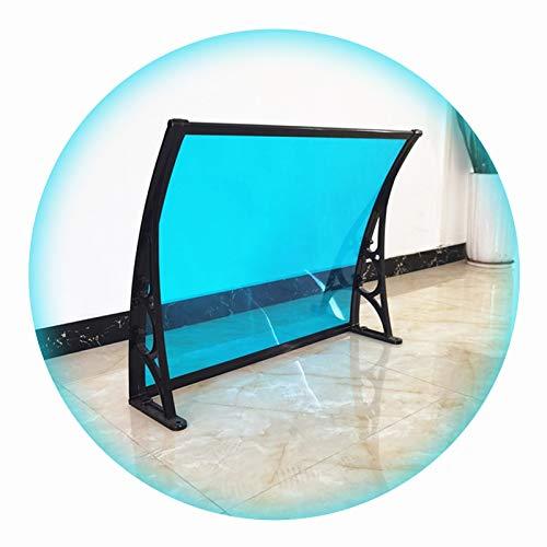 LIANGLIANG Vordach Haustür Überdachung, Verdicken Halterung Anti-Schneesturm, Selbstreinigend Stumm Starke Lichtdurchlässigkeit, Benutzt für Terrasse Carport (Color : Blue, Size : 80x60cm)