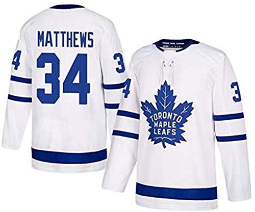 ZRHXN Toronto Maple Leafs #34 Matthews Camisetas Hockey Jersey sobre Hielo NHL Hombre Ropa Respirable T-Shirt de Manga Larga,White,3XL