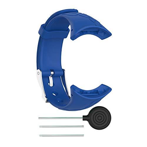 Zerone Smartwatch horlogebandjes siliconen snelsluiting riem vervanging bonte pols band zacht rubber horloge armband voor vrouwen dames dames voor Suunto M1 M2 M4 M5 (blauw)