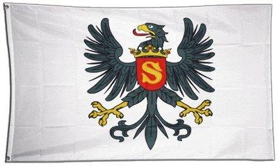 Fahne / Flagge Preußen Herzogtum 1525-1701 + gratis Sticker, Flaggenfritze®