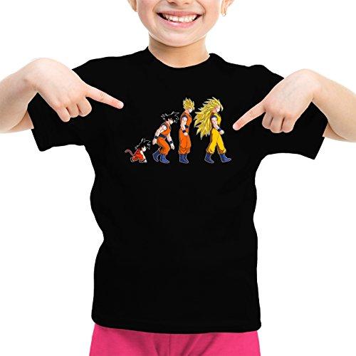 Okiwoki T-Shirt Enfant Fille Noir Dragon Ball Z - DBZ parodique Sangoku Super Saiyajin : La Théorie de l'évolution : (Parodie Dragon Ball Z - DBZ)