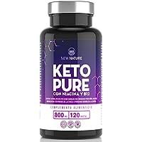 Keto Pure - Píldoras Dietéticas Keto para Hombres y Mujeres - 1 Mes de Suministro, Con Niacina, Té Verde y Cayena - Hecho en UK - 120 Tabletas - Adecuadas para Vegetarianos y Veganos