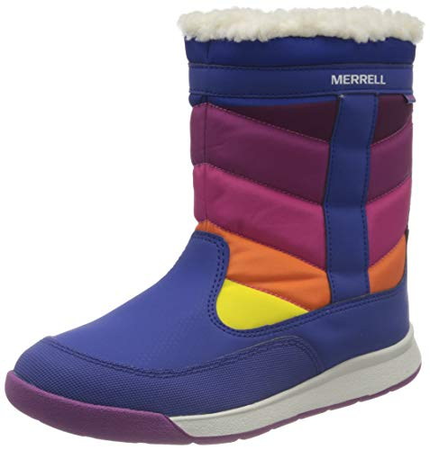 Merrell unisex baby Alpine Puffer Waterproof Snow Boot, Blue/Multi, 3 Big Kid US