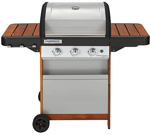 Campingaz BBQ à Gaz 3 Series LX Woody, Barbecue à Gaz en Acier Inoxydable à 3 Brûleurs, Chariot en Bois et Tables de Chevet avec Grille et Plaque Chauffante en Fonte, Plancha