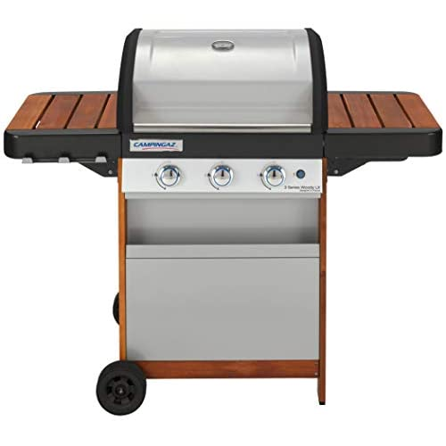 Campingaz Gas BBQ 3 Series Woody LX, 3 Burner Gas Barbecue Grill, 9.6 kW Power, InstaClean Easy Cleaning System, Cast…