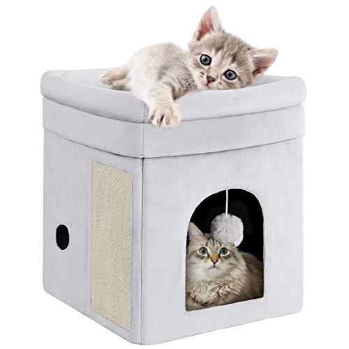 Mancro - Casa para gatos con cama, diseño de cubo de gato, lavable a máquina, plegable para gatos con tabla para arañazos y bola de...