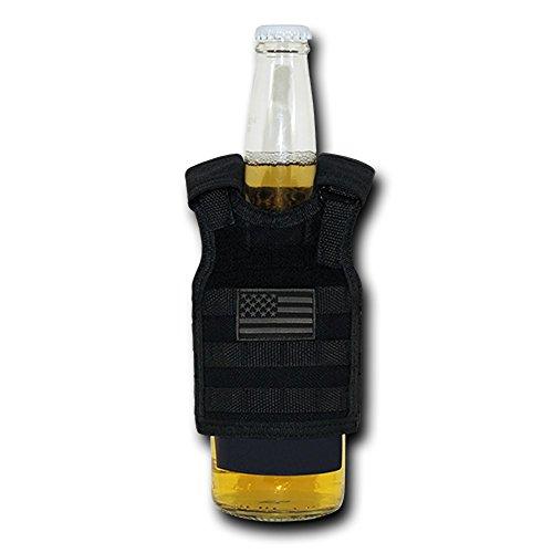 USA US American Flag Tactical Patriotic Tactical Vest Beer Military Bottle Can Cooler Keeper Holder Sleeve Beverage Carrier (T99 - Regular, Black Tonal)