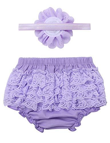 Aislor Baby Mädchen Bloomer Shorts Rüschen Höschen Windelhülle Hose Baumwolle Unterwäsche mit Stirnband Geburtstag Fotoshooting 0-9 Monate Lavender 62-68