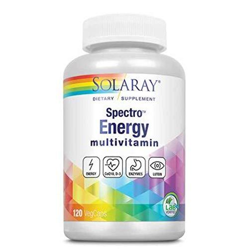 Solaray Spectro Energy! Multi-Vita-Min | Ingredientes Verdes, Base Herbaria y Mezcla de Enzimas Digestivas | Apto Para Veganos | 120 VegCaps