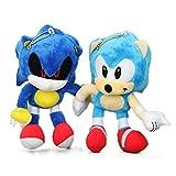 xunlei Peluche 2pcs/Set 18cm 7' Sonic Plush Keychain Toys Metal Sonic Stuffed Doll Super Sonic Shadow Knuckles Tails Dolls