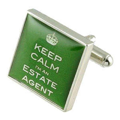 Estate Agent Design lourde solide Argent sterling 925 Boutons de manchette + cadeau personnalisé Message Boîte à boutons de manchette