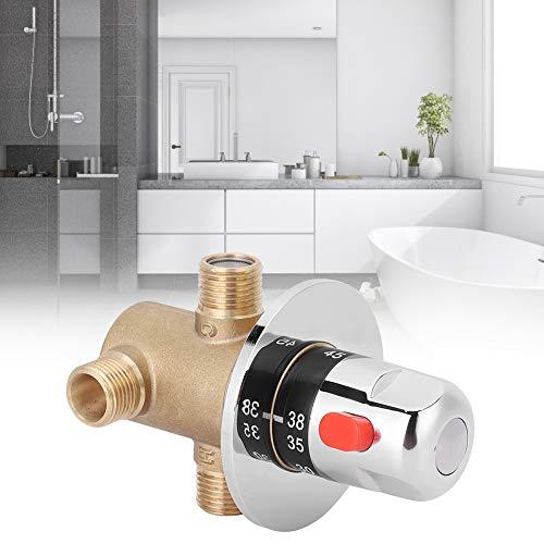 Válvula de Ducha termostática, válvula mezcladora termostática Macho G1 / 2, válvula mezcladora de Ducha Duradera 0.1mpa — 0.5mpa para baño, Lavabo, Cocina, baño